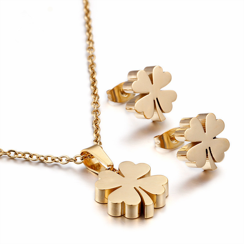 Gold/Steel Color Four Leaf Clovers Austrian Pendant Necklace Women Fashion Jewelry Sets Christmas Gift kcchstar women s four leaf clovers style gold plated finger ring golden us size 8