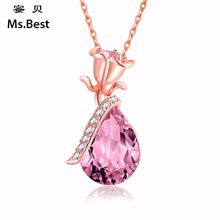 Pink Crystal Statement Rose flower Rose gold Color Pendant Necklace for Women 18 inch Long with 5 cm extension adjustable length