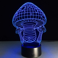 7 Color Changing Night Lamp 3D Bulbing Light Mushrooms LED Lamp For Kids Toy Christmas Gifts