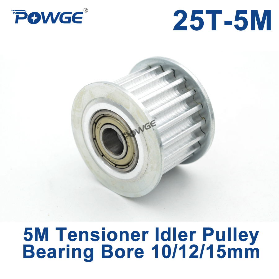 POWGE 25 Teeth 5M Idler Pulley Tensioner Wheel Bore 10/12/15mm with Bearing Guide HTD5M synchronous pulley 25T 25teeth lupulley 25t 5m idler pulley tensioner bore 5 6 7 8 10 12 15mm with bearing guide regulating synchronous htd5m pulley 25t