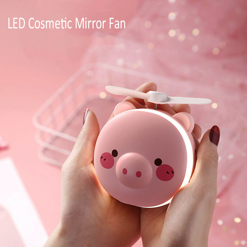 New Creative Usb Led Lights Cosmetic Mirror Fan Cute