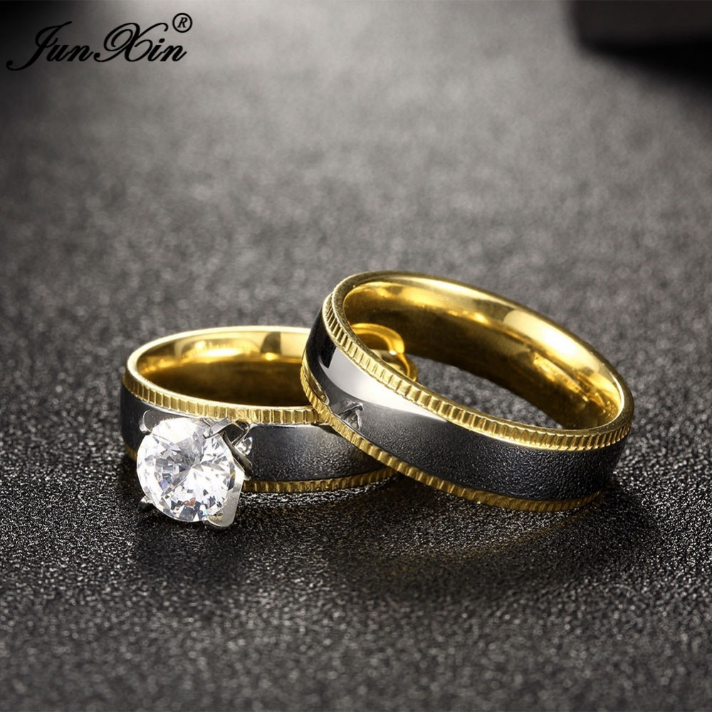 JUNXIN Smooth Silver Gold Colors Stainless Steel Ring Sets Male ...