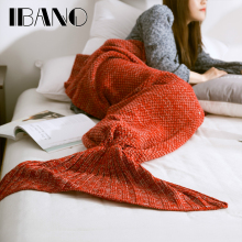 IBANO Mermaid Tail Blanket Yarn Knitted Handmade Crochet Mermaid Blanket Kids Throw Bed Wrap Soft Sleeping Sofa Blanket 1PCS/Lot