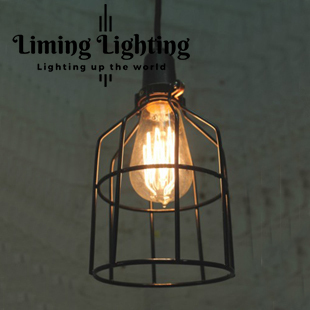 Retro indoor lighting Vintage pendant light LED lights iron cage lampshade warehouse style light fixture loft lamp vintage pendant lights wrought iron cage pendant warehouse light fixture black lamp