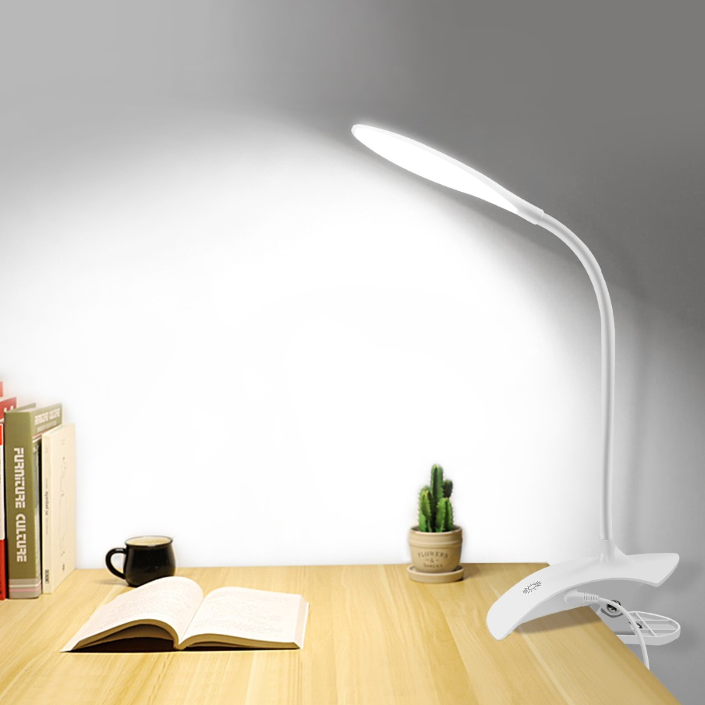 Touch 3 Modes Desk Lamp Usb Led Table Bedside With Clip Bed Reading Book Night Light