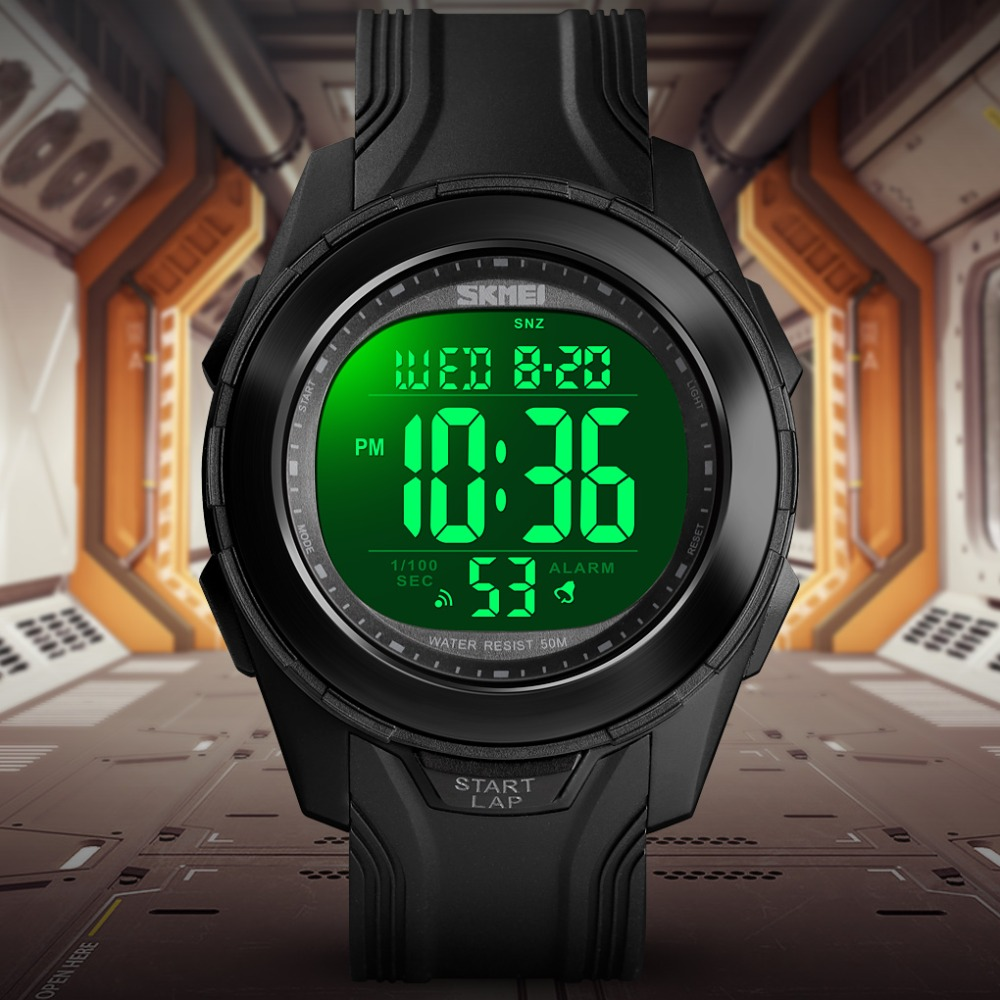 <font><b>SKMEI</b></font> Digital Watch Men Military 50M Waterproof Back Light Watch PU Strap Chronograph Sports Watches Relogio Masculino image