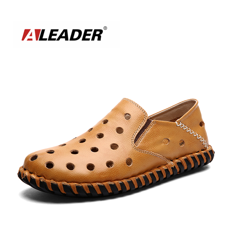 Aleader Hand Made Mens Leather Shoes Casual Loafers 2016 Fashion Summer Shoes for Man Flat Slip On Driving Shoes Moccasins aleader mens leather loafers new 2017 casual flat shoes men driving moccasins fashion slip on mens working flats sapatos