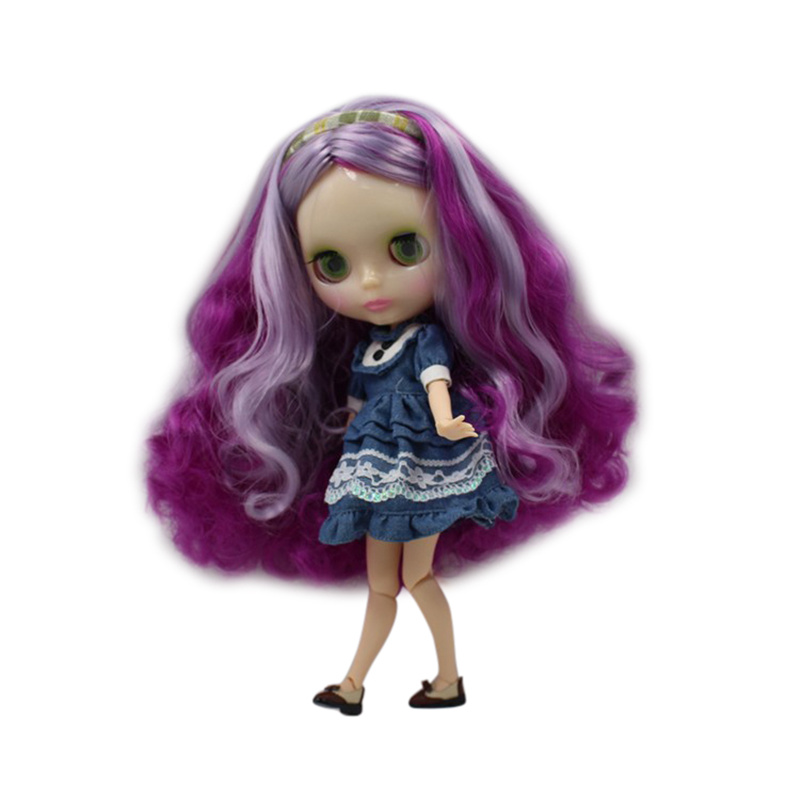 Factory Blyth Doll Nude Doll Long Curly Hair Mixed color purple Lilac Joint Body 4 Colors