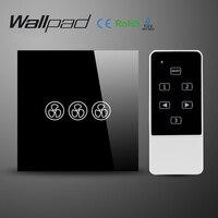 Wallpad EU UK Standard Crystal Glass Black Wifi Fan Speed Switch Wireless Remote Control Wall Fan