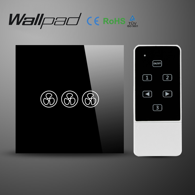 Wallpad EU UK Standard Crystal Glass Black Wifi Fan Speed Switch,Wireless Remote control wall Fan touch switch,Free Shipping luxury uk standard wireless remote control for ceiling fan crystal glass panel 600w fan speed regulation wall touch switch