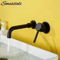 Smesiteli современное настенный смеситель для раковины, латунный кран с одной ручкой, смеситель для горячей и холодной ванны, матовый черный кра...