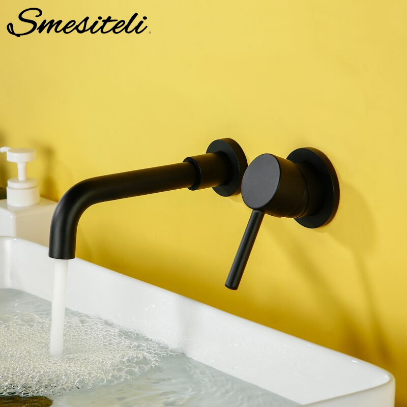 Wall Mounted Brass Basin Faucet Single Handle Mixer Tap Hot Cold Bathroom Water Wholesale Retail Matt Black White Rose Gold Set