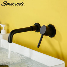Wall Mounted Brass Basin Faucet Single Handle Mixer Tap Hot Cold Bathroom Water Wholesale Bath Matt Black White Rose Gold Set(China)