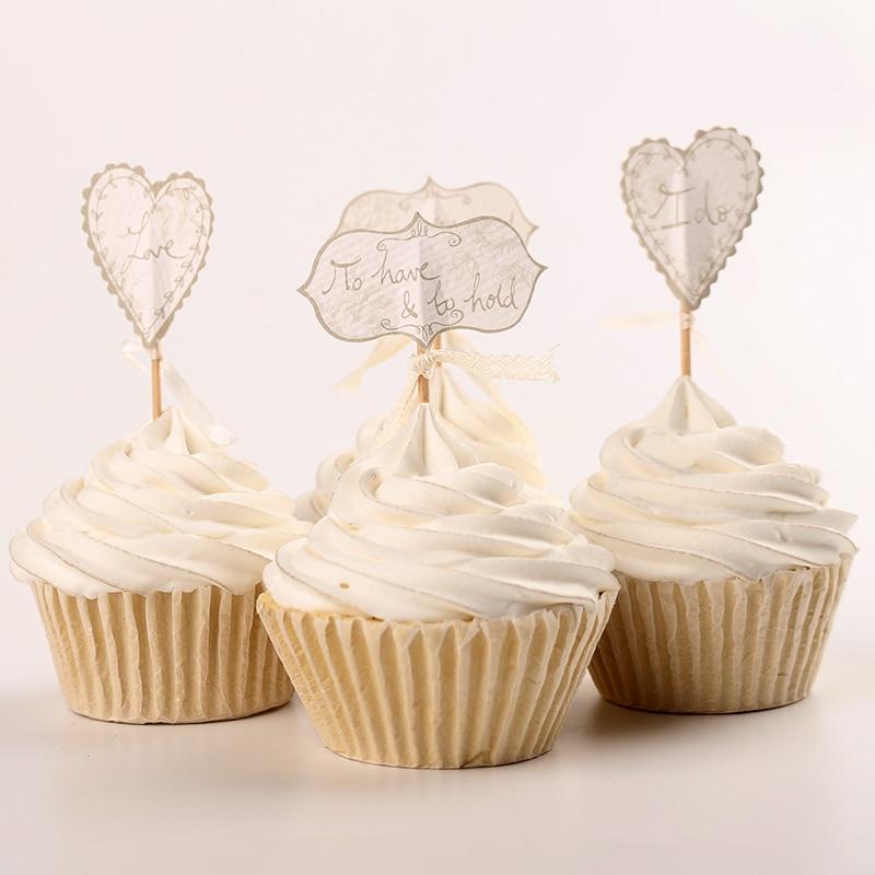 48pcs Sweet Wedding Cupcake Toppers Picks Decoration Bridal Shower Engagement Insert Card
