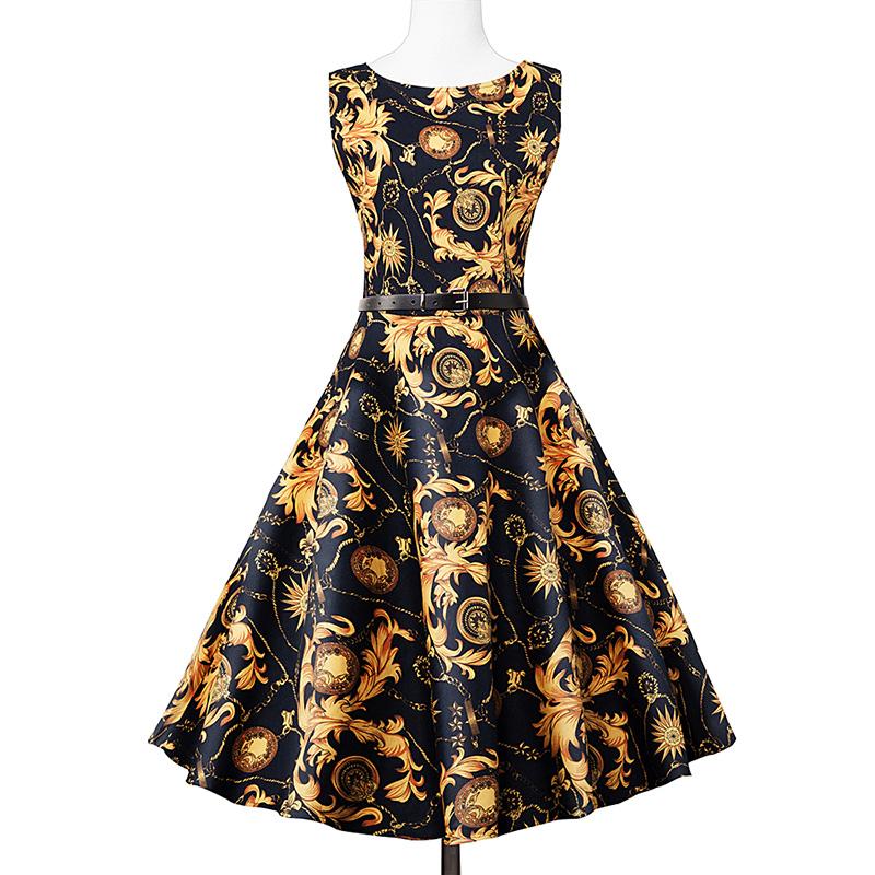 Kostlish Elegant Print Women Summer Dress Sleeveless Cotton Hepburn 50s 60s Vintage Dress With Belt Casual A-Line Ladies Dresses (28)