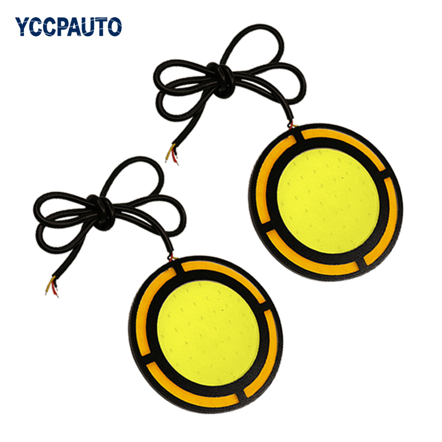 car-styling Daytime Running Lights LED Car DRL Waterproof Light Source 73MM Car Fog Running Lamps 2pcs/set DC12V 2pcs set fog lights daytime running light drl h1 fog bulbs high power 100w yellow 4300k replacement car lamps car styling