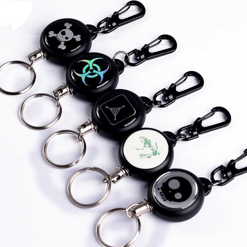 1 Pcs Elastis Gantungan Kunci Tad Tali Baja Pencuri Alat Sabuk Uang Retractable Key Recoil Tarik Cincin Klip Rantai
