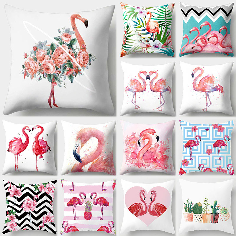 Nordic Flamingo Tropical Leaf Cushion Cover Flower Polyester Throw Pillow Home Decoration Sofa Decorative Pillowcase 40516