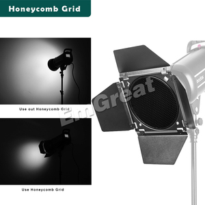 Image 3 - Montagem de Bowens Godox BD 04 Barn Door + Honeycomb Grade + 4 Filtro de Cor para Padrão Refletor para Godox QT600IIM/QT400IIM