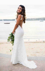 Image 2 - E JUE SHUNG white lace mermaid Wedding Dresses V neck Backless boho Wedding Gowns low back beach Bride Dress