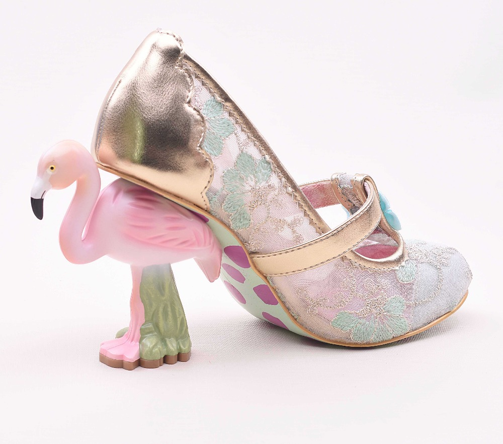 Flamingos heel Lace Women Pumps Strange High Heels Wedding Party Shoes Woman  Sweet Knot Pink Candy ... 7b7879fed7c8