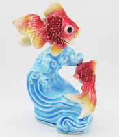Promotion Fish Jump Figurine Art Souvenir Crystal Metal Crafts Animal Trinket Box Casket Wedding Gift Lucky Fish Bowl Decoration