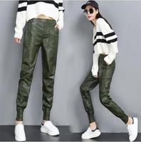 Autumn winter PU Faux Leather Trouser Women Harem Pant Casual Leather Trousers Loose Elastic waist Capris Plus Size S 2XL