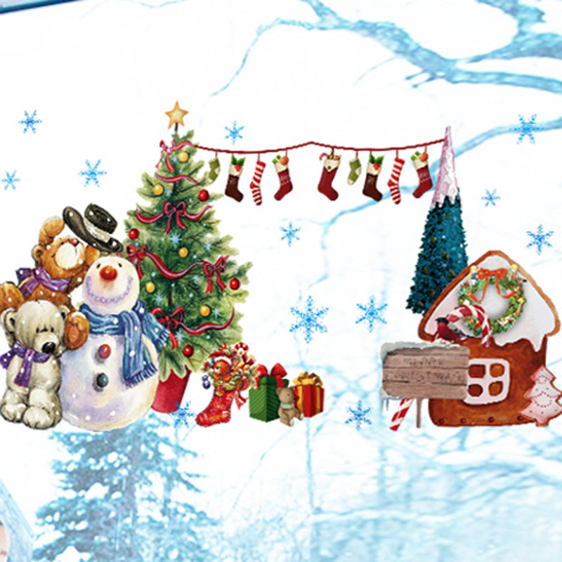 Christmas window stickers vinilos decorativos wall for H h christmas decorations
