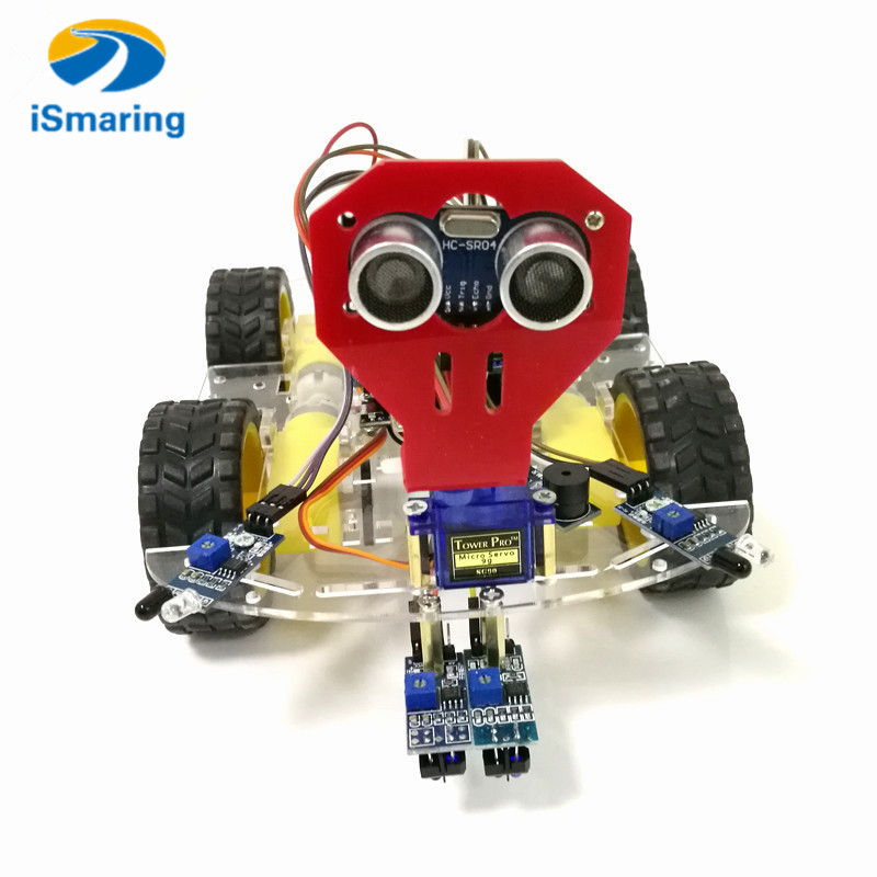 WiFi Control Avoidance Tracking Smart Robot Car Chassis Kit Speed Encoder Battery Box 4WD Ultrasonic Module For Arduino Kit