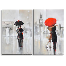 Handmade Modern knife Figure Oil Painting On Canvas for Home Decor Happy lover in the Street under Rain Day Landscape Paintings