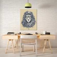 Laeacco Nordic Canvas Painting Cartoon Black White Lion Animal Posters and Prints Wall Artwork for Living Room Home Decoration