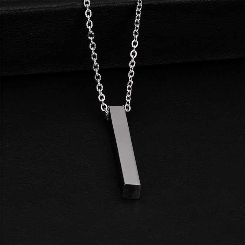 Modyle New Four Sides Engraving Personalized Square Bar Custom Name Necklace Stainless Steel Pendant For Women/Men Birthday Gift