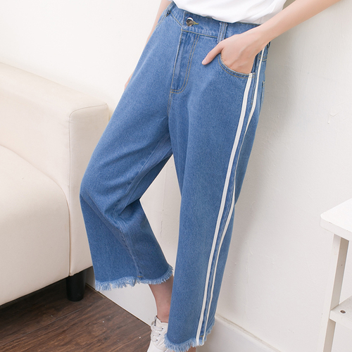 High Waist Blue Jeans Woman 2016 Preppy Style Casual Striped Ripped Tassel Calf Length Straight Denim Pants Trousers jeans femme