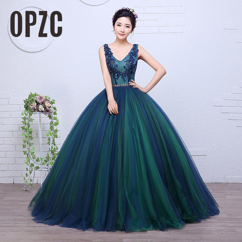 Real Photo Colored wedding dress 2017 New Korean Style Sexy V Neck Lace  Crystal Appliques Princess Gowns Paty vestido de noiva 6239e9ae1475