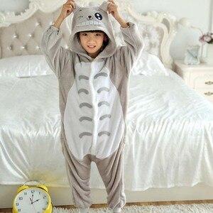 Totoro Overalls Jumpsuit with Pockets Children Cosplay Costume Grey Kigurumi Onesie Blanket Sleepers Kids Pajama Hip With Zipper