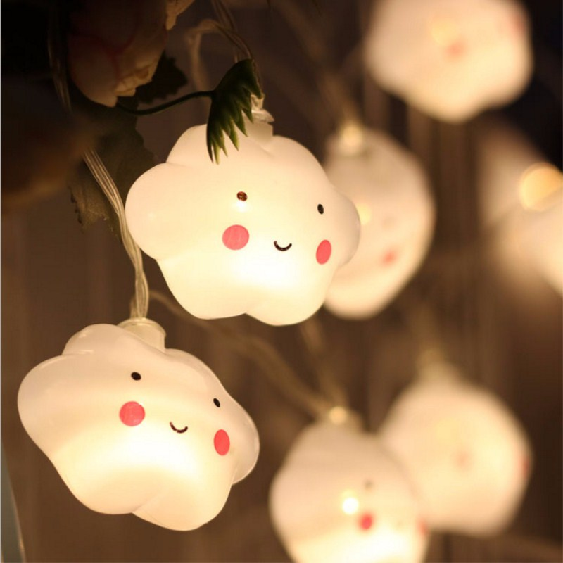 ins 10 Leds LED Smile Cloud lamp String Lights Battery Powered Indoor Ambient Lighting For Garden Party Wedding child Decor