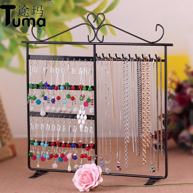 Iron Earrings Racks Necklaces Jewelry Storage Racks Princess Earrings Jewelry Display Stand European Style 48 Holes 10 Hook
