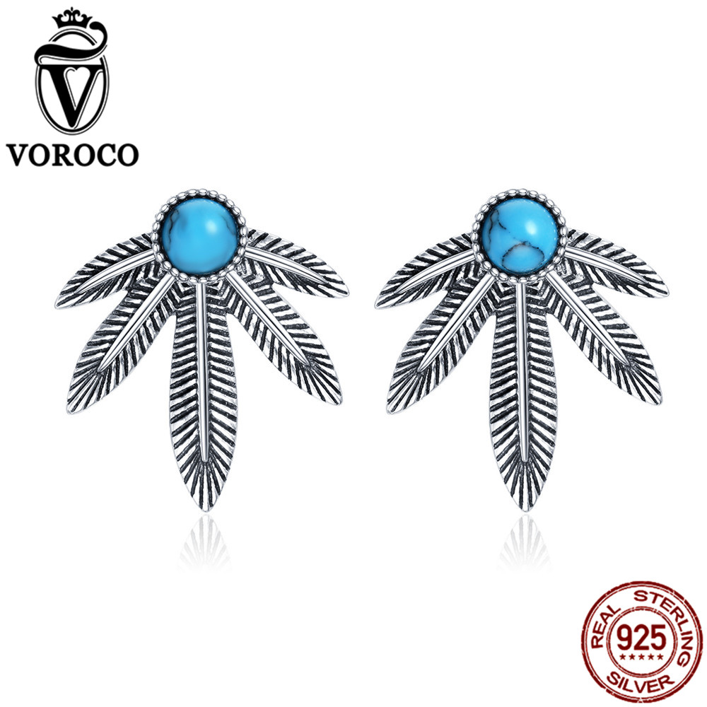 VOROCO Natural Turquoise Stone Vintage Stud Earrings