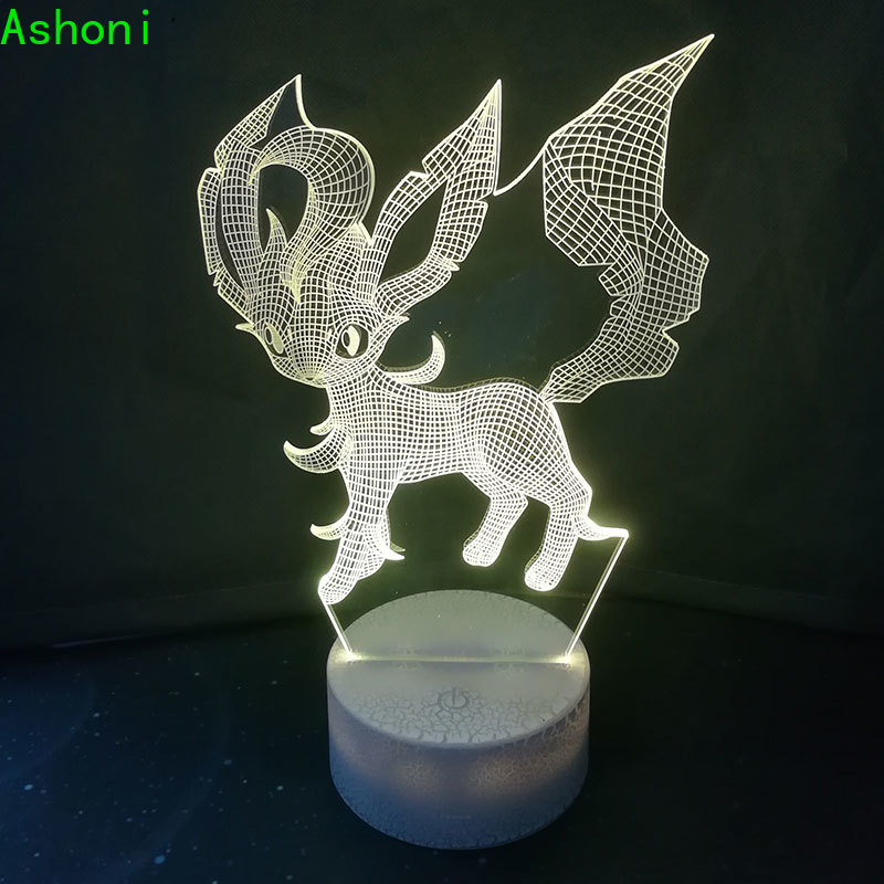 Hot Game Pokemon Leafeon 3D Table Lamp LED Touch 7 Color Change Night Light Home Decor Kids Gift Christmas in LED Night Lights from Lights Lighting