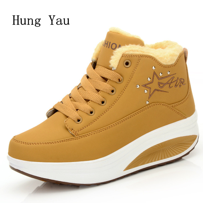 Women Snow Boots Ankle Autumn Winter Warm Female Casual Shoes Woman Flat Fashion Height Increasing Comfortable new 2017 fashion female warm ankle boots lace women boots snow boots and autumn winter women shoes