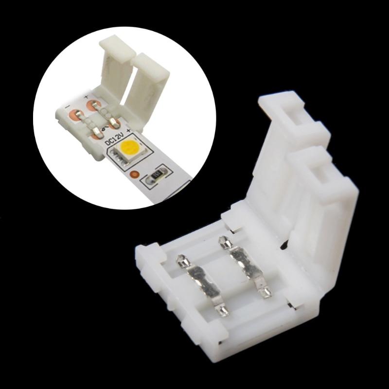 Solderless Clip-on Coupler Connector 2 Pin 10mm For 5050 Single Color LED Strip Light