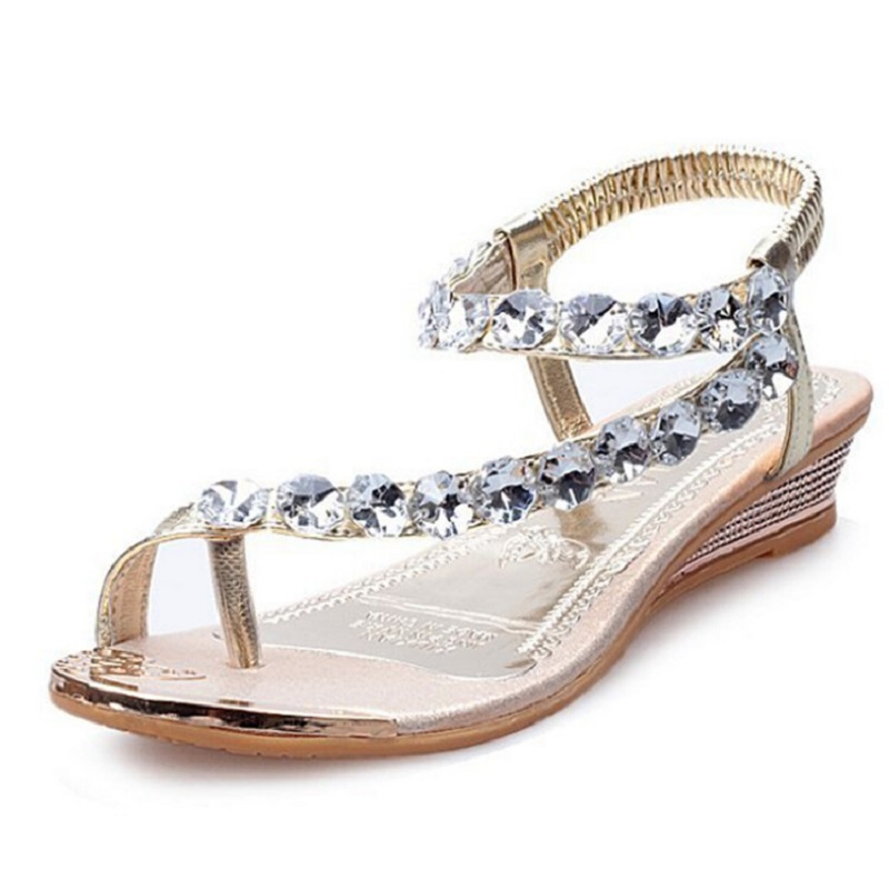 5d67b252d3b Flat sandals 2015 New Womens Ankle Strap Thong Sandals Flats Iridescent Rhinestones  Beads Flip-flop rasteirinha female sandals