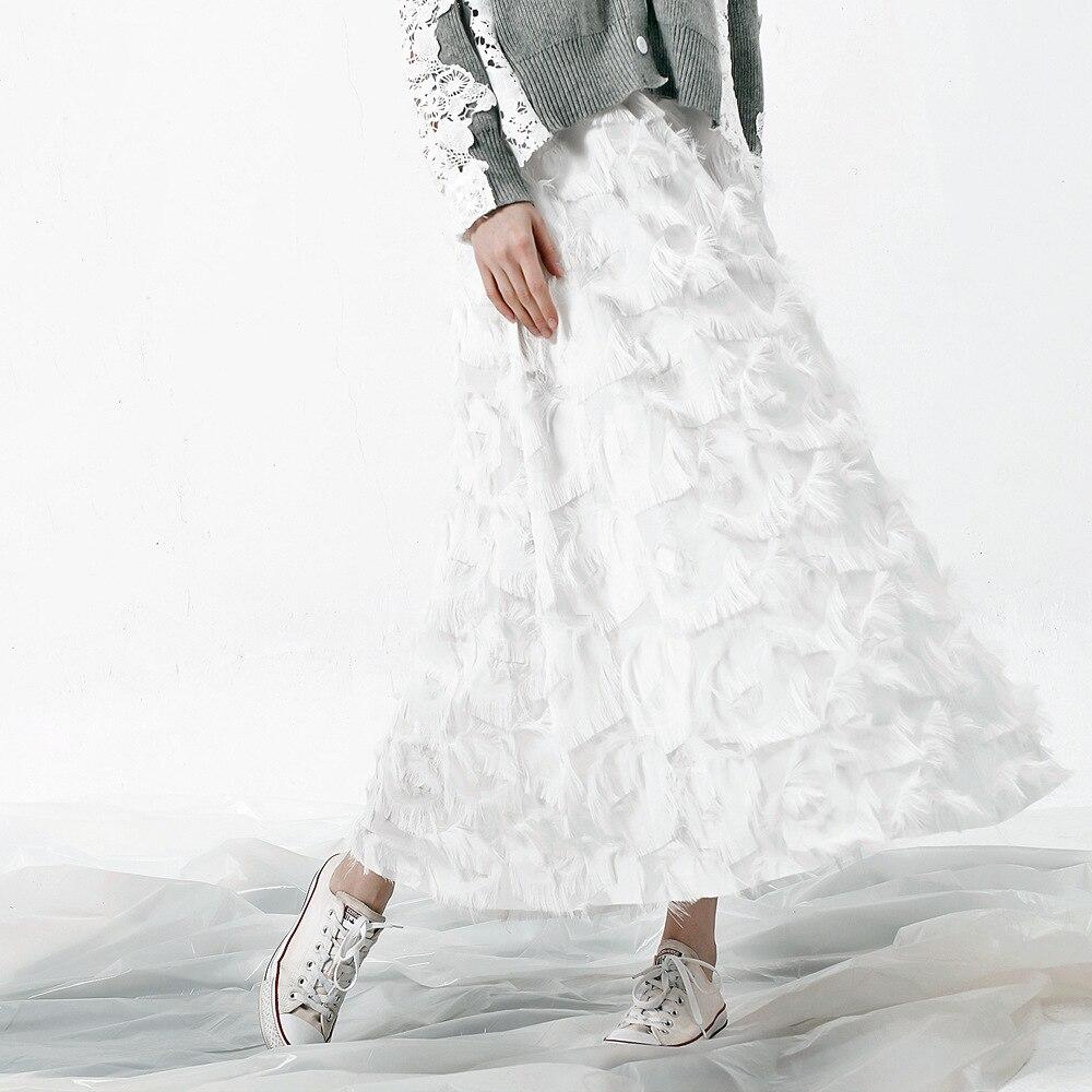 Женские летние кружевные юбки с кисточками, новинка 2019, модные повседневные однотонные юбки с высокой талией, простые женские юбки длиной д