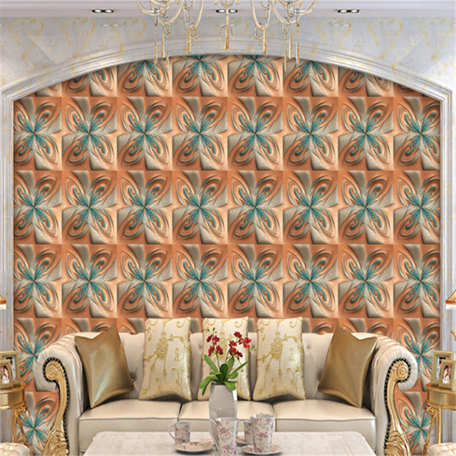 Custom 3D Murals Classic Brown Wallpapers Bonded Leather Flower Walls Papers Soft Mural for Living Room Background Home Decor