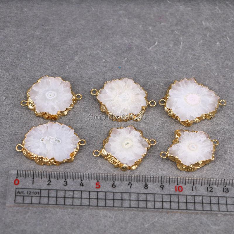Natural solaire quartz 24k plaqué or double Bails Connectors Making Jewelry