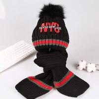 Hat Scarf Sets For Boys Girls Cap Children Warm Fleece Velvet Pompom Age Size 2 3