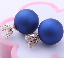 Free Shipping New Fashion jewelry double side crystal 16MM pearl Frosted matte stud earring gift for women girl Stud Earrings