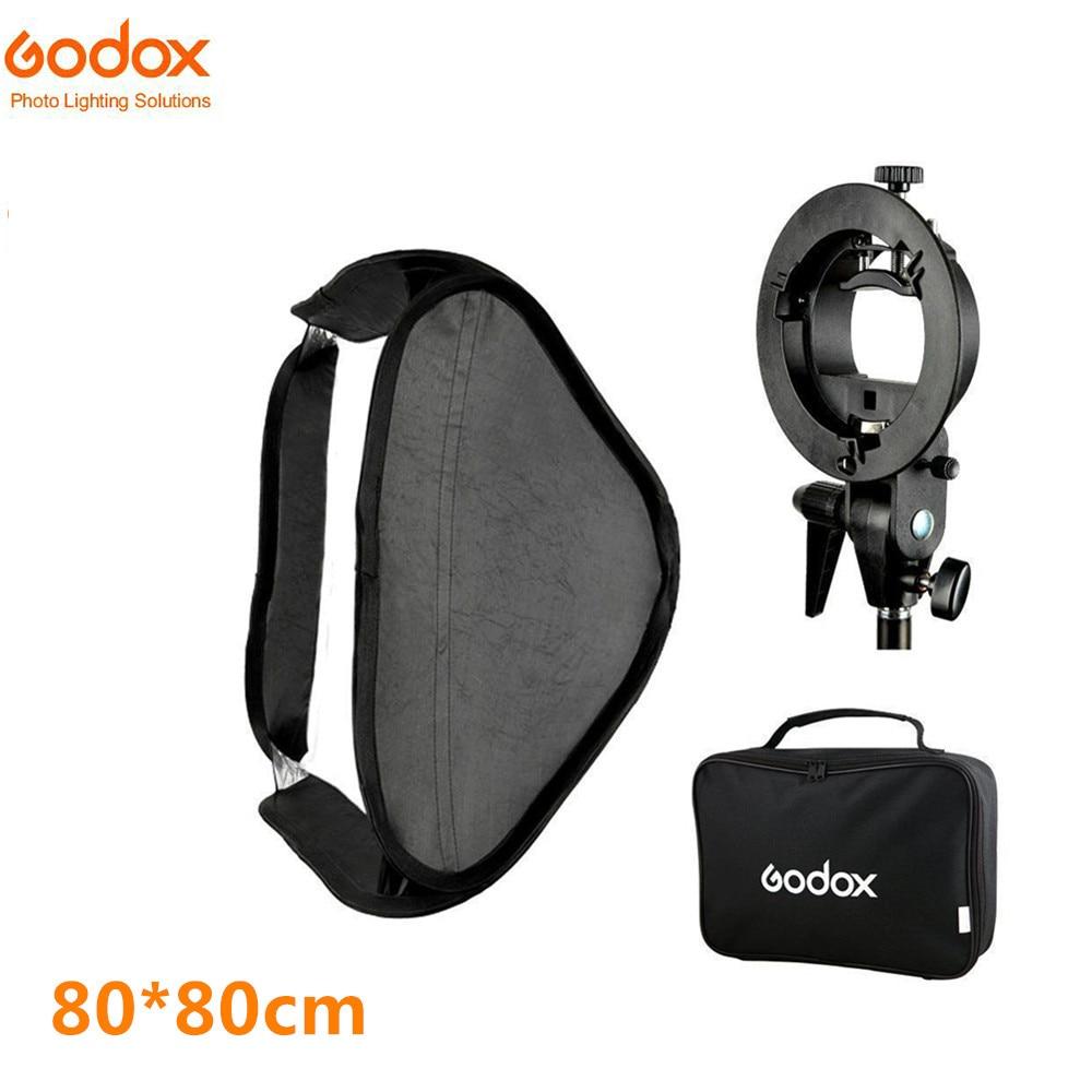 Godox Softbox SFUV8080 Flash Folding 80*80 cm + S-Type Bracket Bowens Holder+ Bag Kit for Camera Flash Speedlites