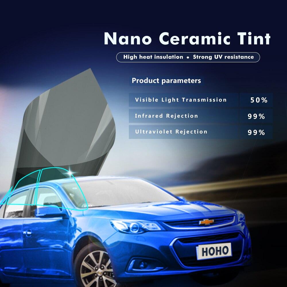 50% VLT 99% IR 99% UV voiture ombre de soleil Nano céramique fenêtre teinte Film 2PLY voiture côté fenêtre teinte maison maison Protection solaire vinyle - 4