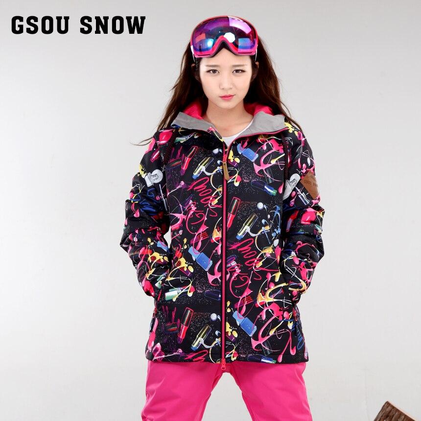GSOU SNOW ski jacket women snowboard jacket women veste ski femme thick warm ski wear -30 degree russia winter 2016 gsou russia winter ski jacket women snowboard jacket womens veste ski femme thick warm esqui skiwear 30 degree